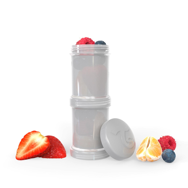 Контейнер для сухой смеси Twistshake, серый Pastel