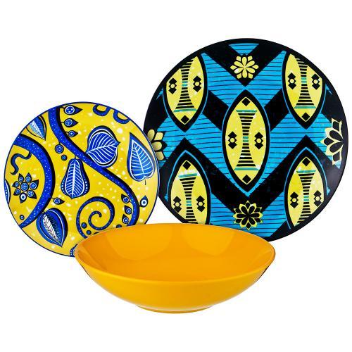 Набор столовой посуды Lefard, 18 предметов, синий/желтый