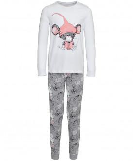 Купить 219BBGU97010019, Пижама для девочек Button Blue, цв. серый, р-р 152, Пижамы для девочек