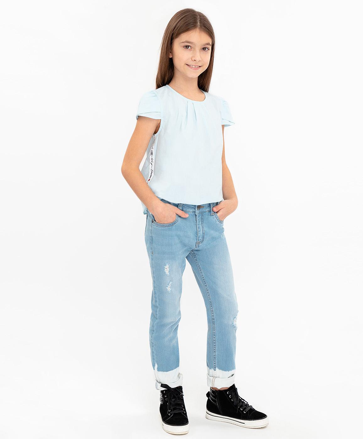 Джинсы для девочек Button Blue, цв. голубой, р-р 110 фото