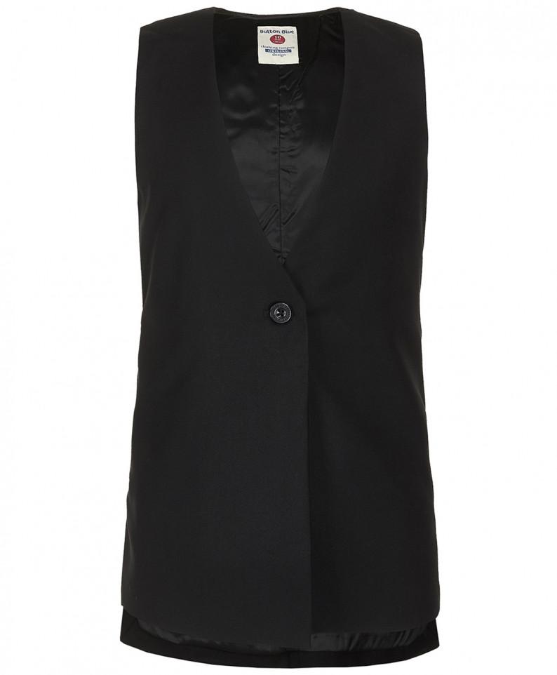 Купить 219BBGS47010800, Черный удлиненный жилет для девочек Button Blue, цв. черный, р-р 122,