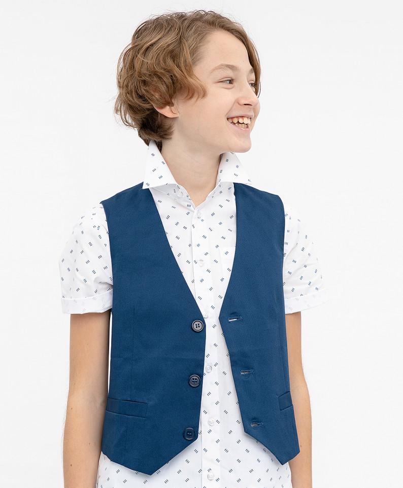 Синий нарядный жилет для мальчиков Button Blue, цв. синий, р-р 116