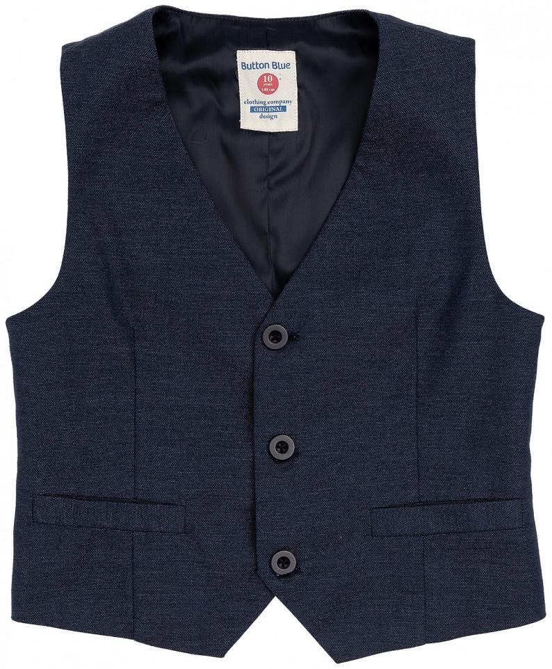 Синий жилет для мальчиков Button Blue, цв. синий, р-р 98