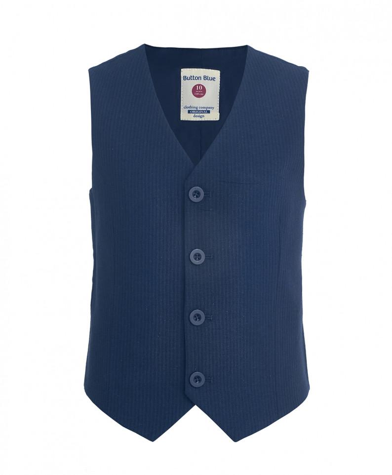 Синий жилет в полоску для мальчиков Button Blue, цв. синий, р-р 104