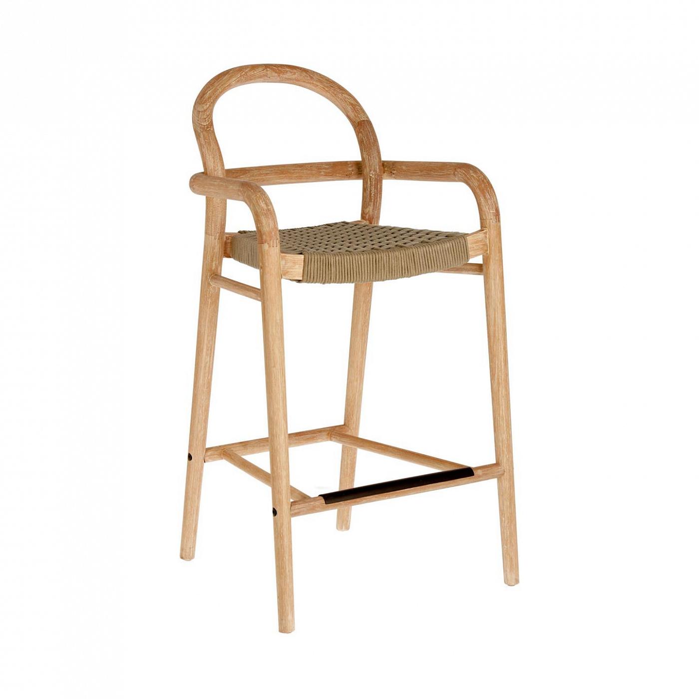 Барный стул La Forma 77845, бежевый/натуральное дерево