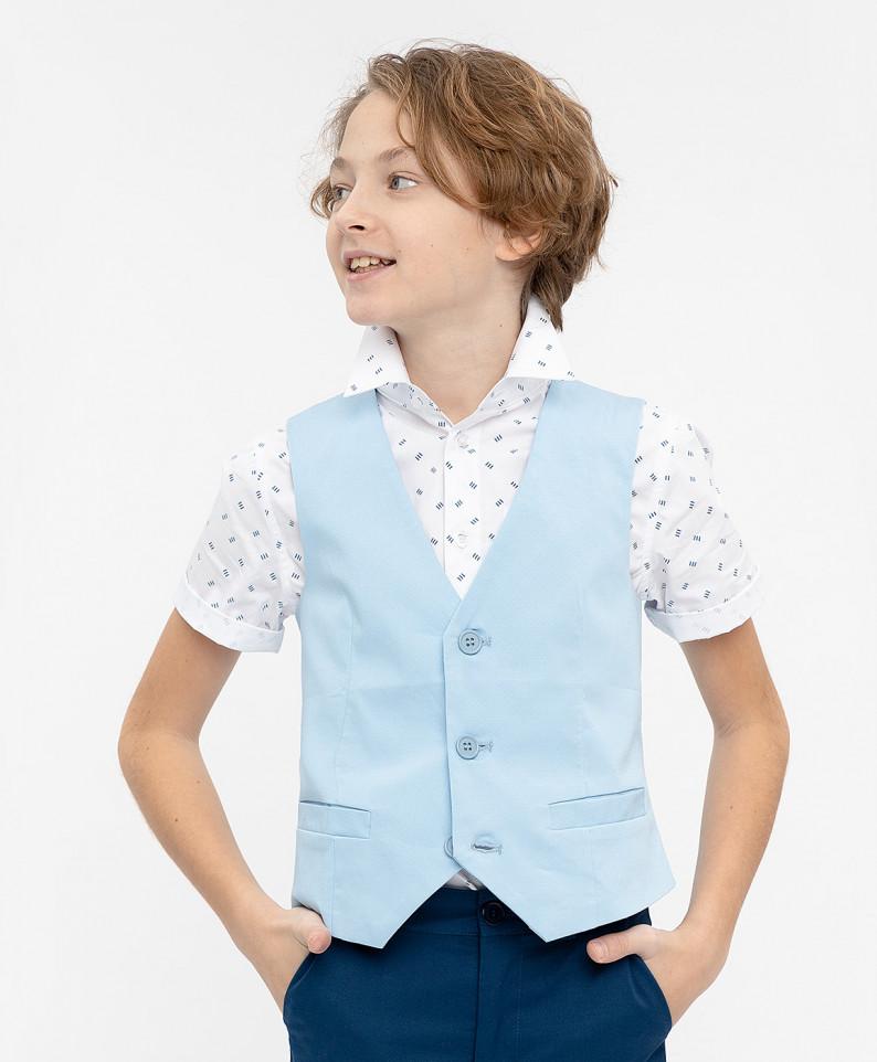 Голубой нарядный жилет для мальчиков Button Blue, цв. голубой, р-р 134