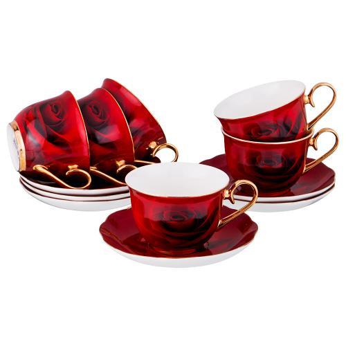 Чайный набор Lefard 12 предметов, красный