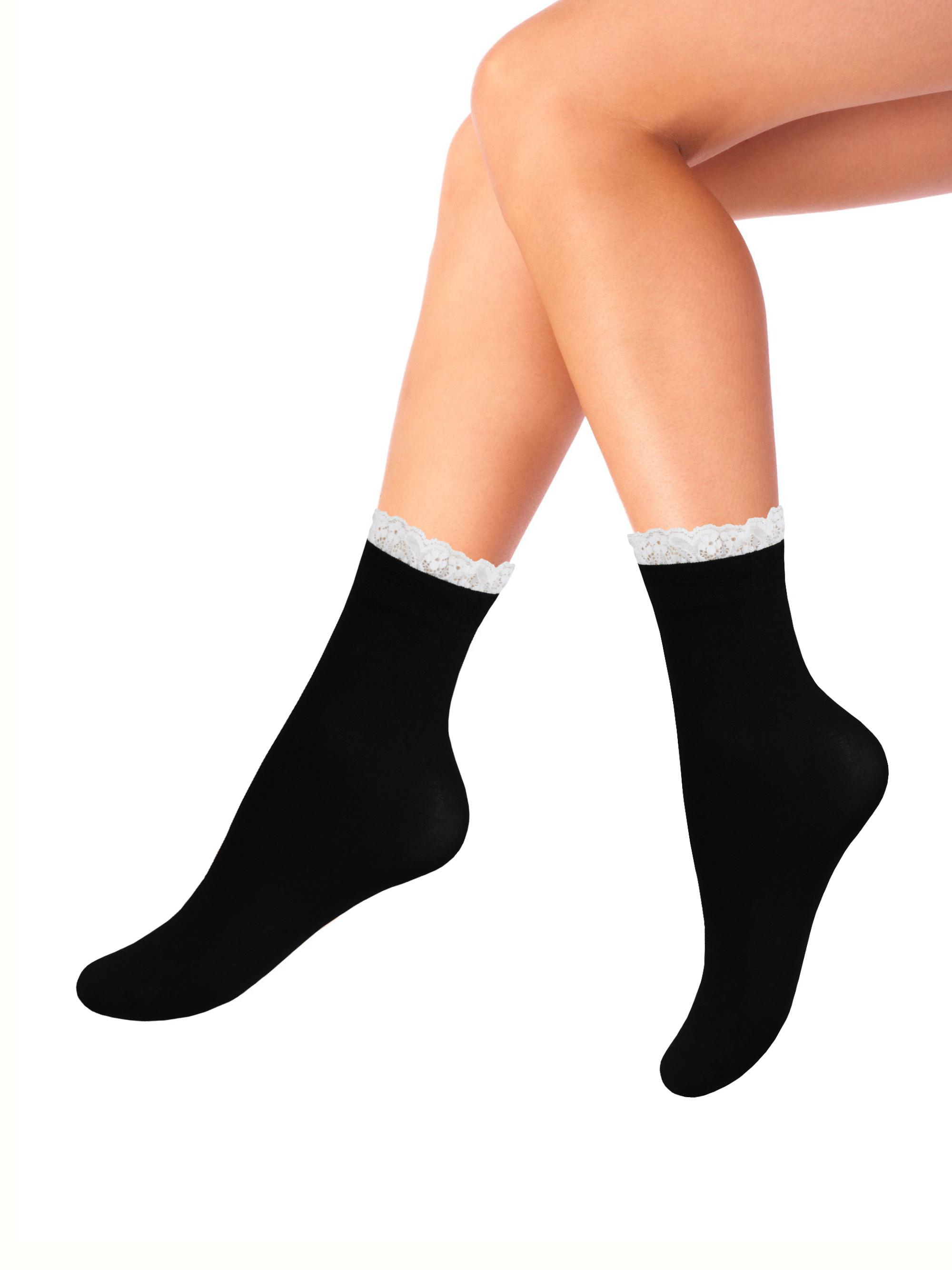 Капроновые носки женские Mademoiselle Romantic (c.) черные UNICA