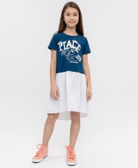 Купить 120BBGC50051002, Платье для девочек Button Blue, цв. синий, р-р 134, Платья для девочек