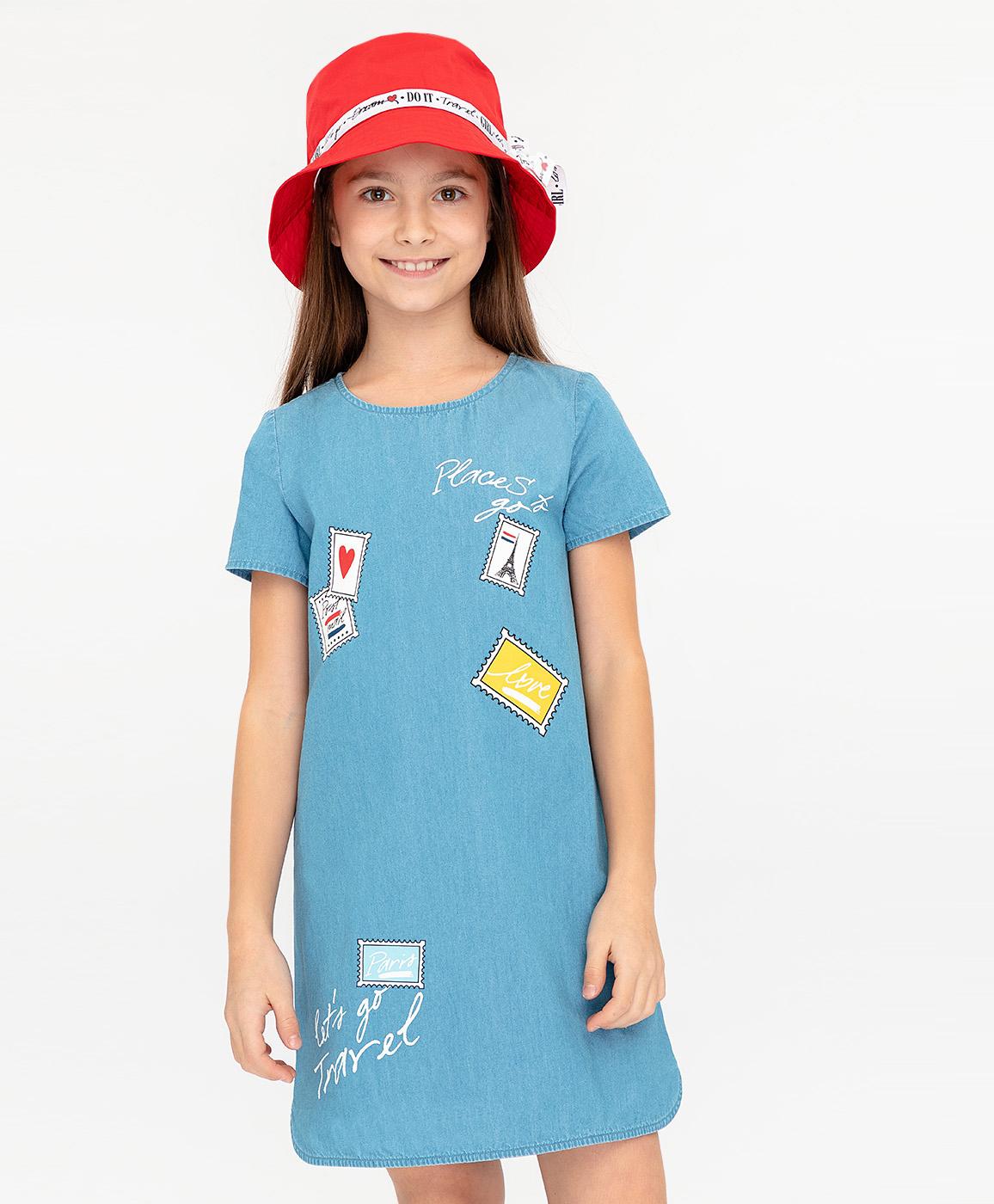 Купить 120BBGC2503D200, Платье для девочек Button Blue, цв. голубой, р-р 104,