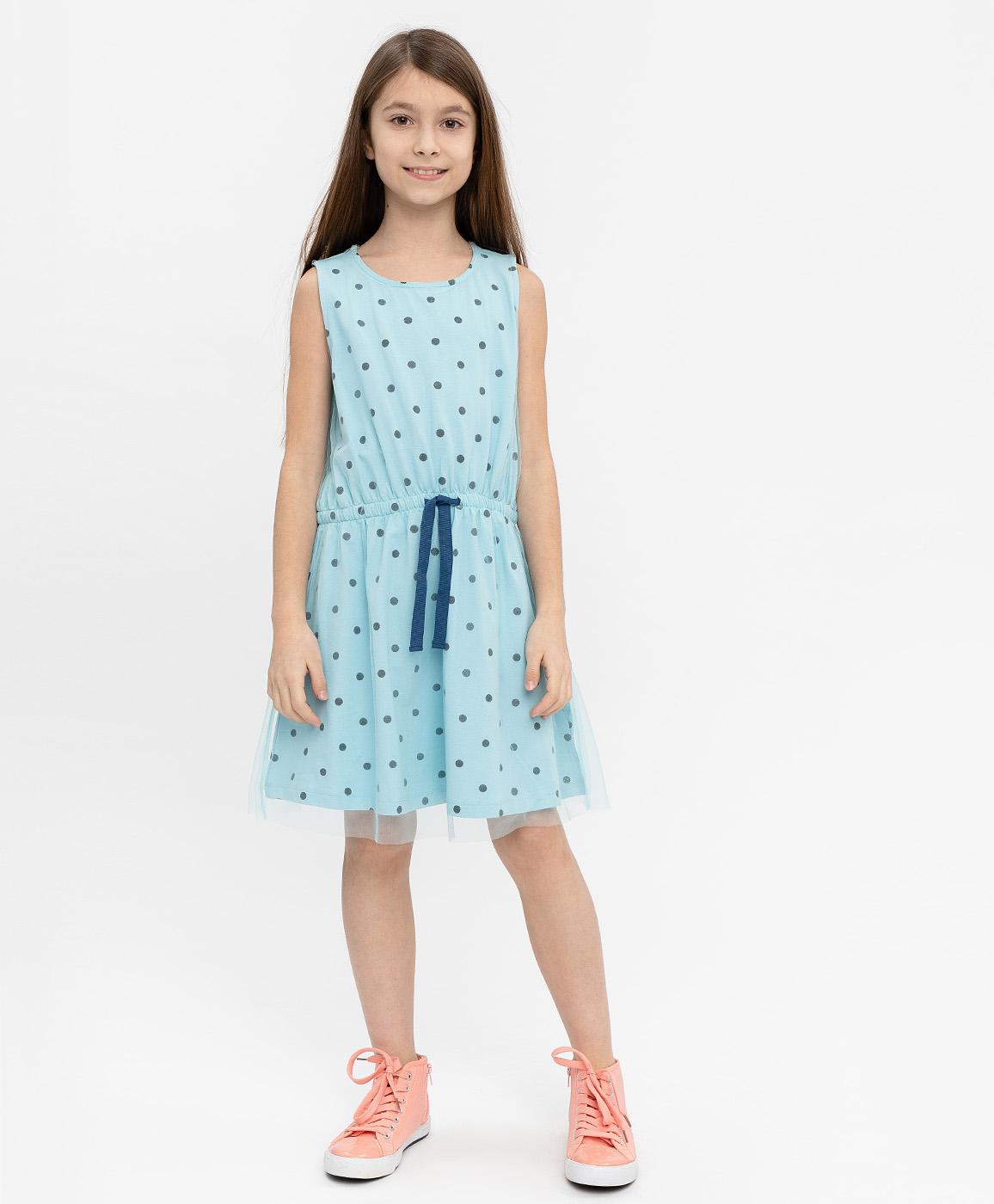 Купить 120BBGC50011804, Платье для девочек Button Blue, цв. голубой, р-р 116,
