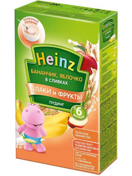 Пудинг Heinz молочный быстрорастворимый, бананчик, яблочко