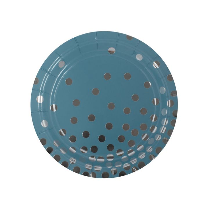 Тарелка Голубая с серебряными кружочками, 6