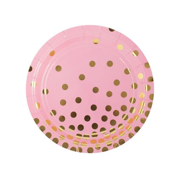 Тарелка Розовая с золотыми кружочками, 6