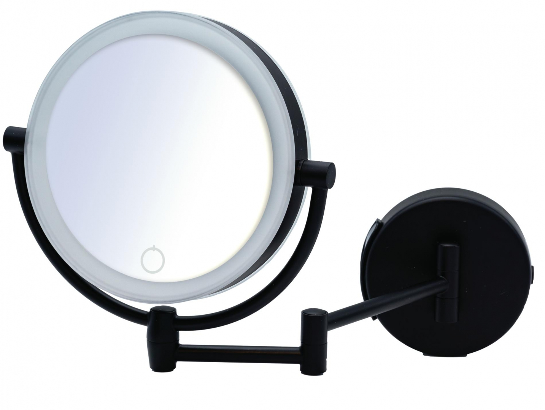Зеркало косметич. подвесное Shuri 1х/5х-увелич. LED сенсор USB чёрный по цене 12 148