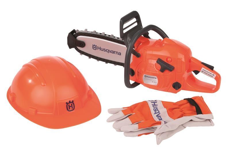 Купить Игрушечная пила Husqvarna с перчатками и шлемом, Детские мастерские