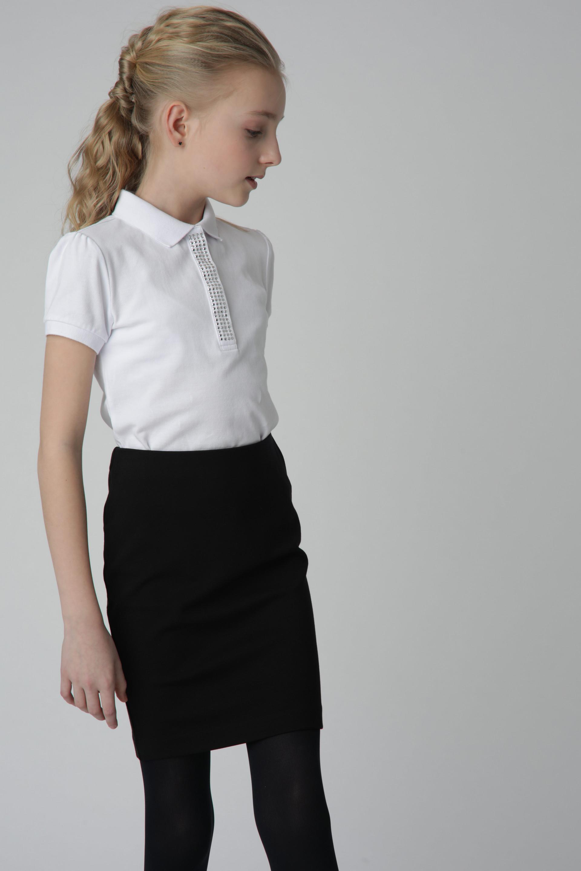 Белое поло для девочки Gulliver, модель 220GSGC1401,