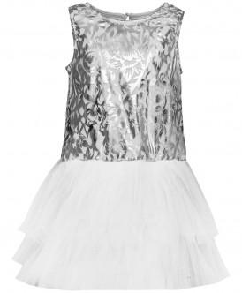 Купить 219BBGP50010213, Платье для девочек Button Blue, цв. серебристый, р-р 158, Платья для девочек