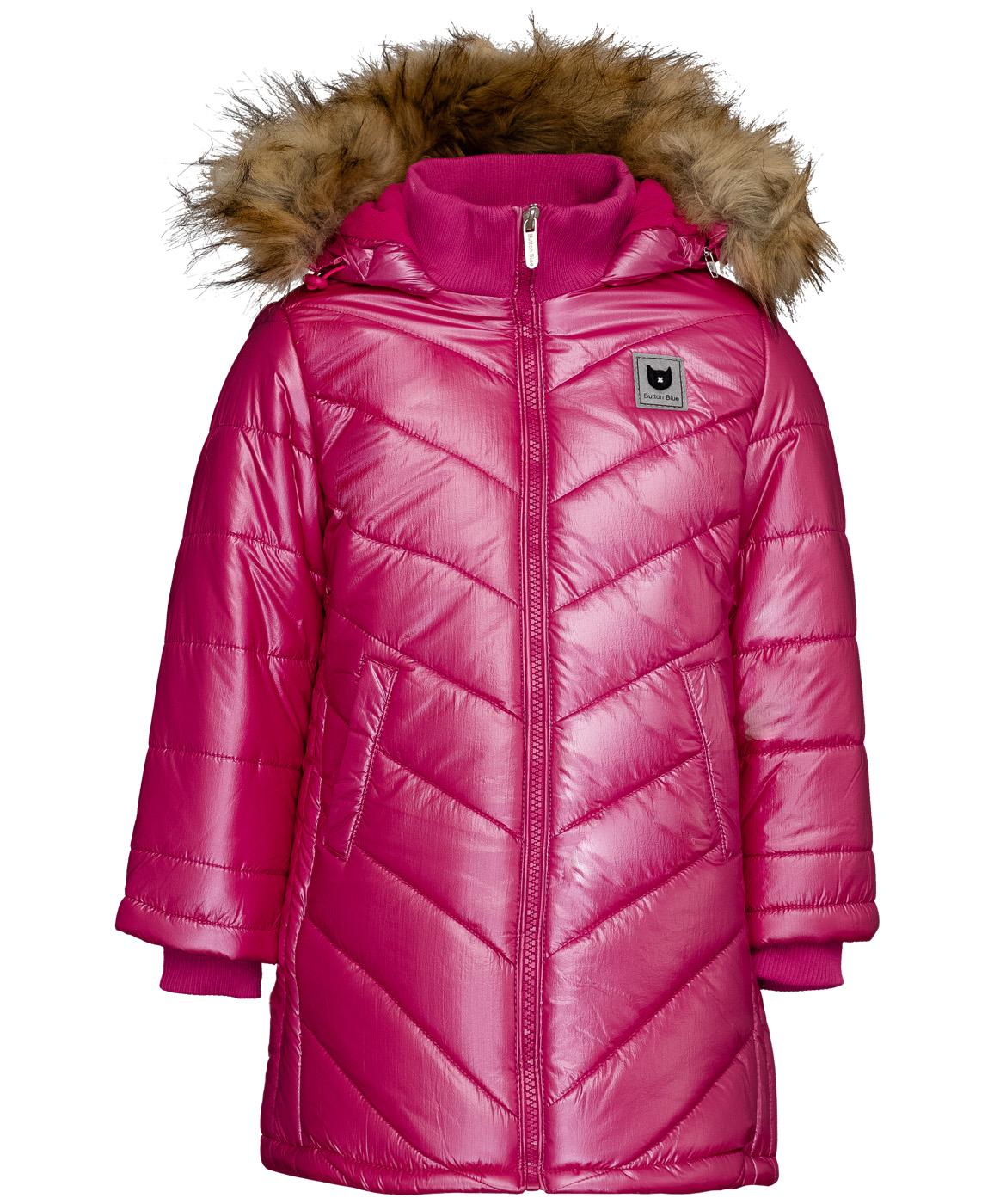 Пальто для девочек Button Blue, цв. розовый,
