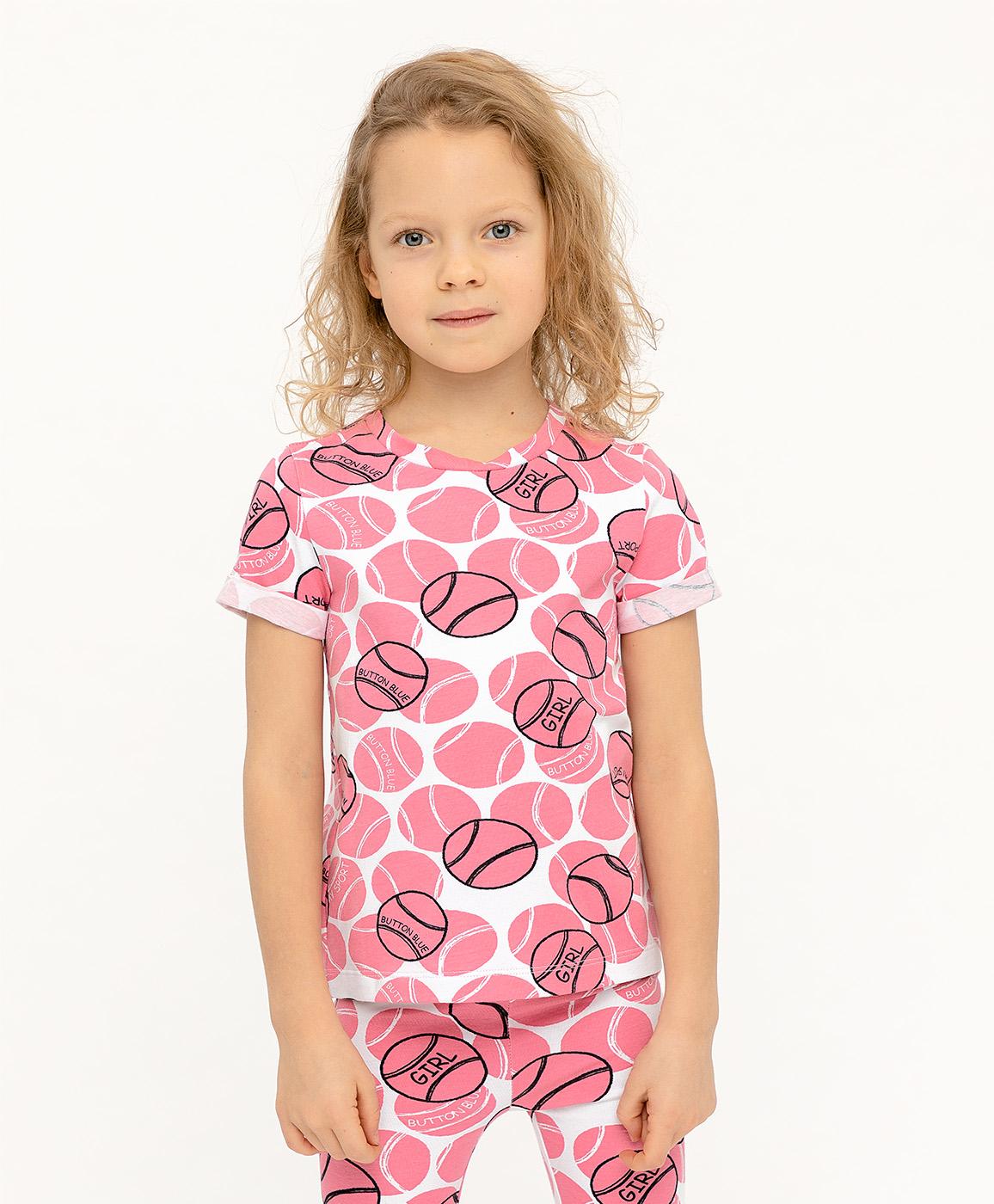 Купить 120BBGF12021213, Футболка для девочек Button Blue, цв. розовый, р-р 116,
