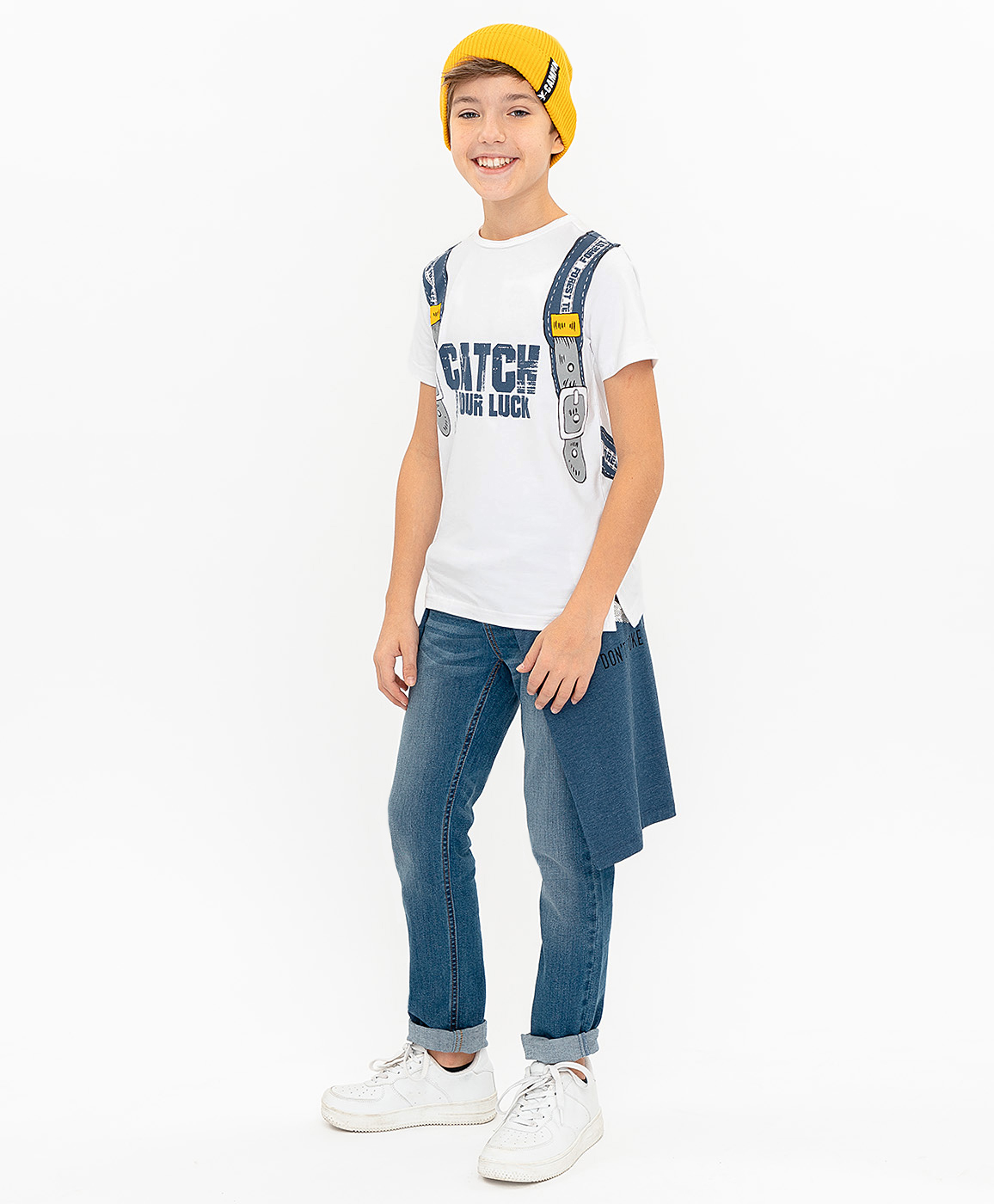 Футболка для мальчиков Button Blue, цв. белый, р-р 122 фото