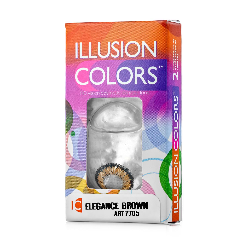 Купить Контактные линзы ILLUSION colors Elegance 2 линзы -2.0D brown карий