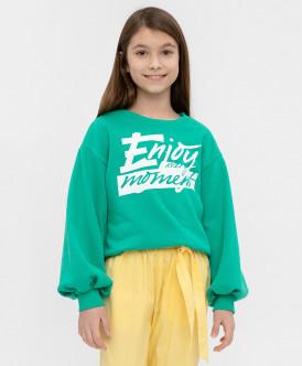 Купить 120BBGC16054800, Толстовка для девочек Button Blue, цв. зеленый, р-р 104, Толстовки для девочек