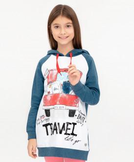 Купить 120BBGC16064021, Толстовка для девочек Button Blue, цв. синий, р-р 104, Толстовки для девочек