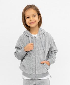 Купить 120BBGC16081900, Толстовка для девочек Button Blue, цв. серый, р-р 104, Толстовки для девочек