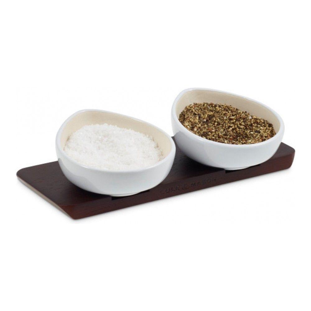 Набор солонка и перечница керамическая с подставкой