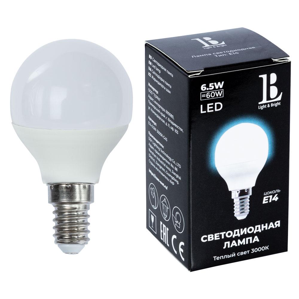 Лампочка L&B E14 6,5W 3000К G45