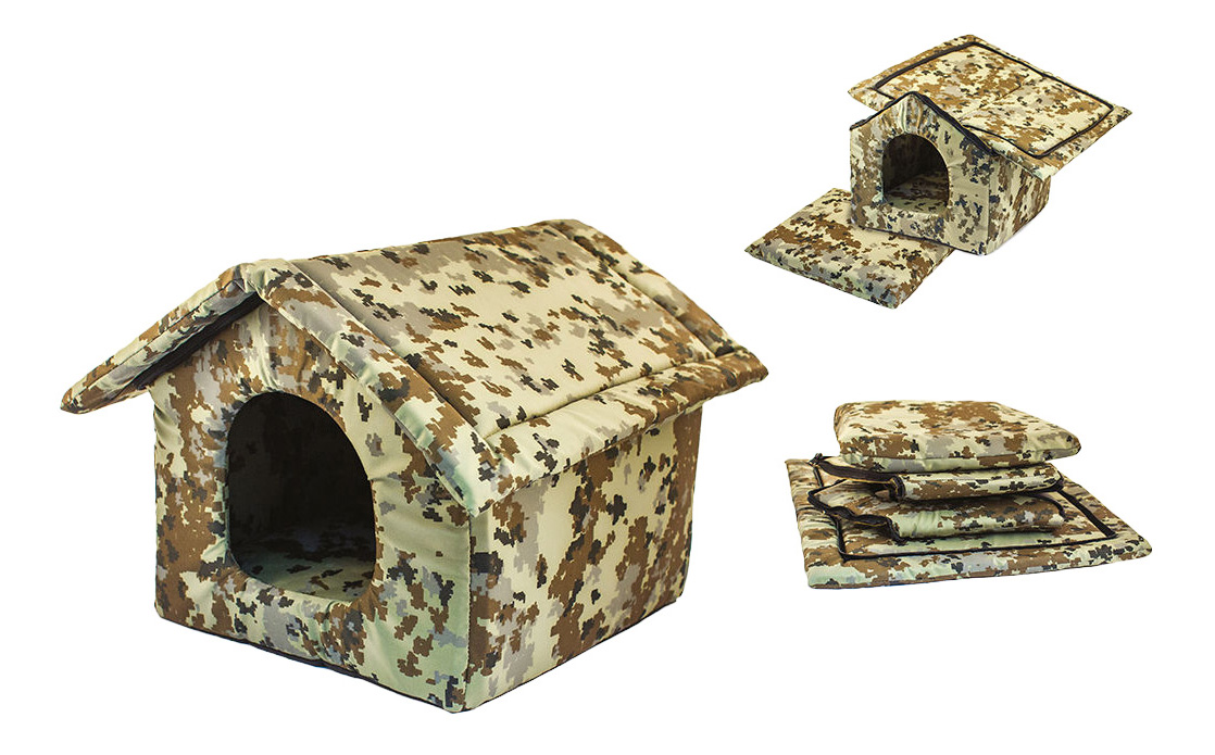 Домик для кошек и собак Дарэлл Хантер-Избушка №2, бежевый, коричневый, 40x40x37см фото