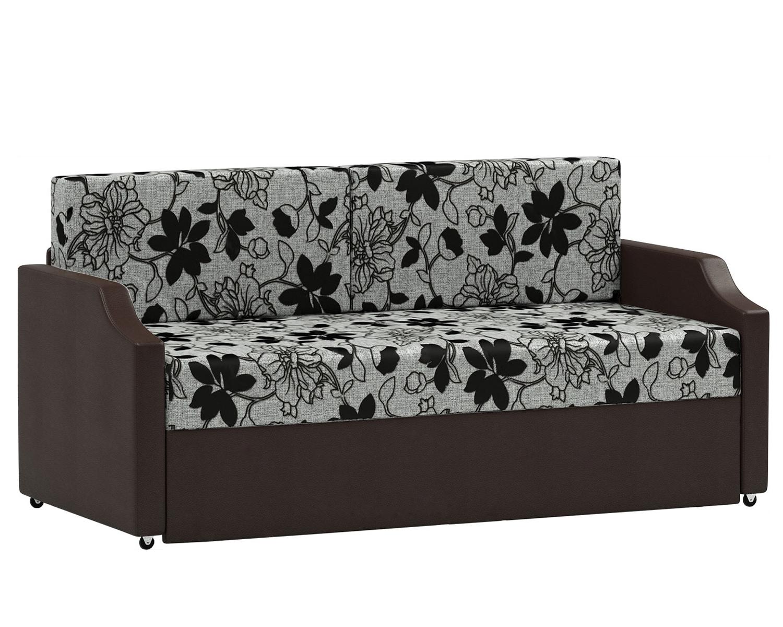 Кушетка Шарм Дизайн Малыш шенилл цветы+экокожа коричневый