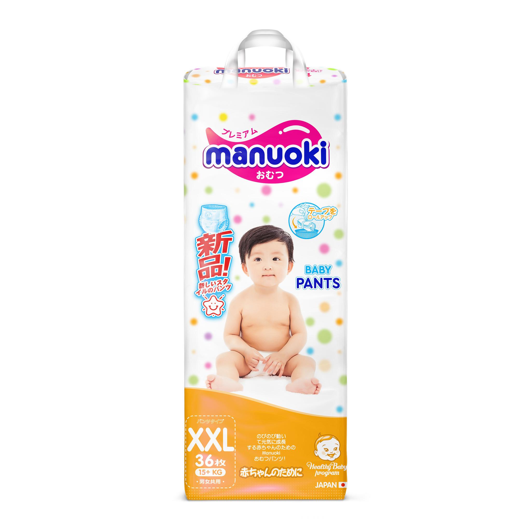 Подгузники-трусики Manuoki XXL 15+ Кг 36 шт Manouki Pants