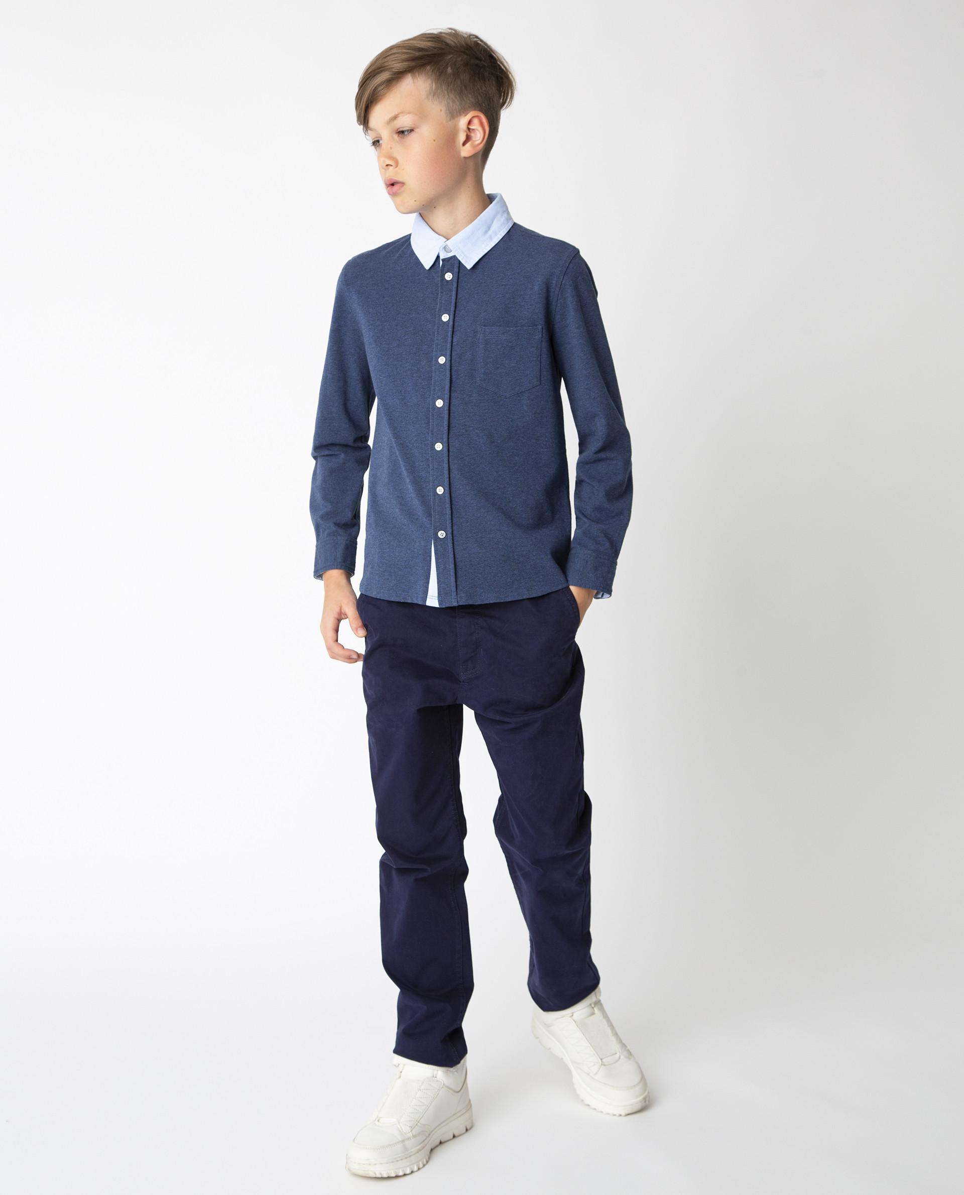 Синяя рубашка на кнопках Gulliver, модель 220GSBC1409,
