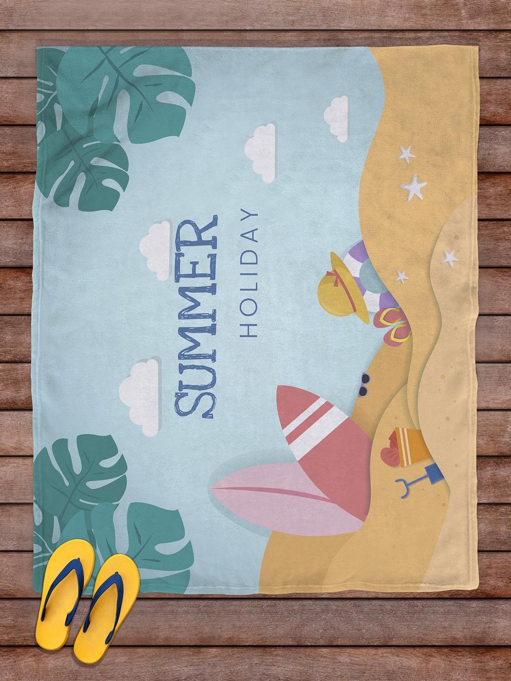 Плед покрывало пляжное для пикника флис 145х180 Summer Holiday- обзор, преимущества, отзывы. Заказать товар за 2263 руб. Бренд sfer.tex