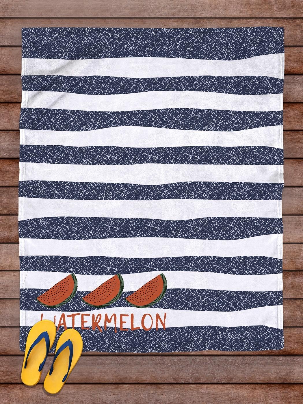 Плед покрывало пляжное для пикника флис 145х180 Арбуз- обзор, преимущества, отзывы. Заказать товар за 2263 руб. Бренд sfer.tex