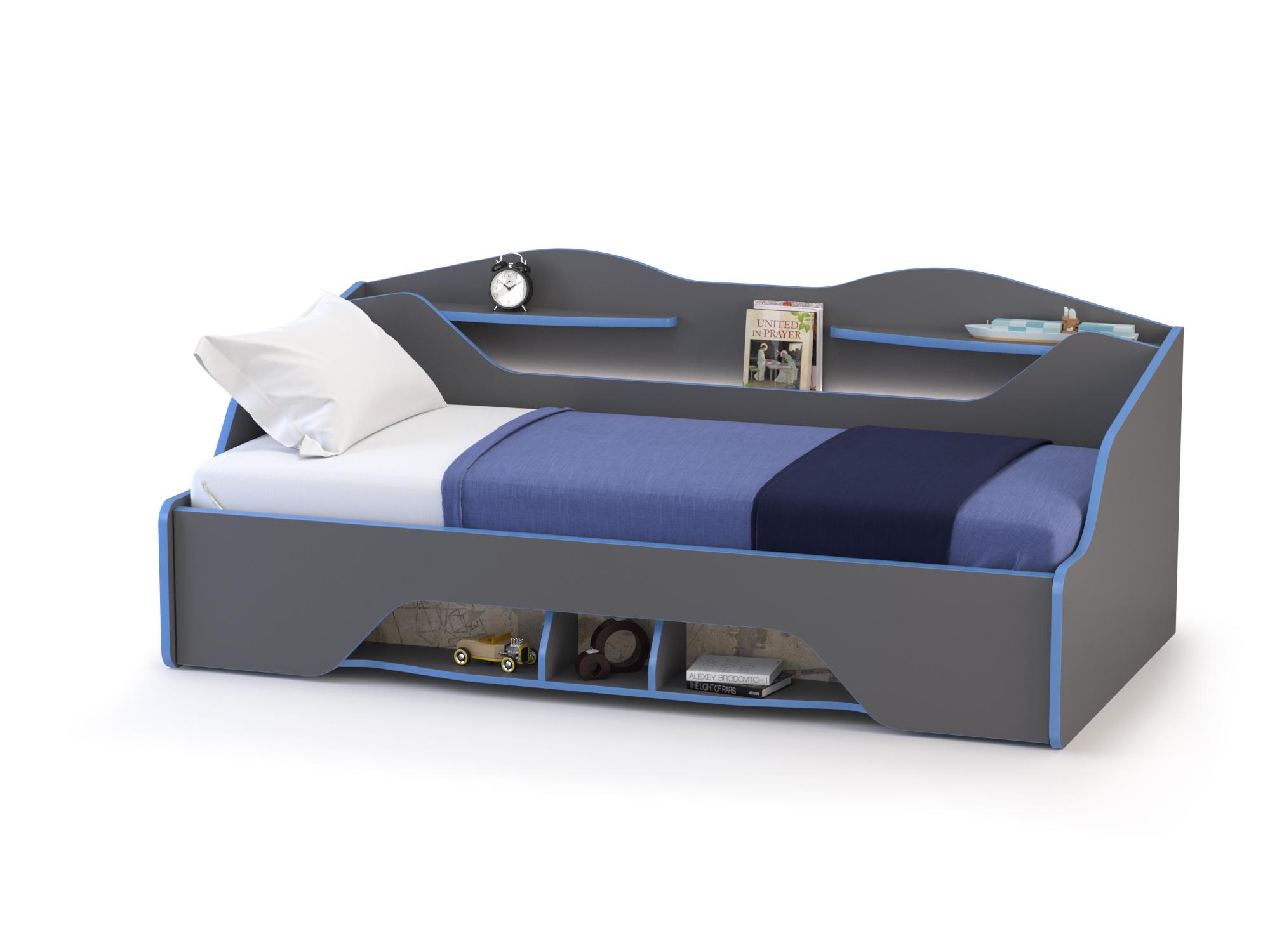 Кровать Mobi Индиго с основанием тёмно серый/граффити,