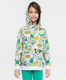Купить 120BBGC16040013, Толстовка для девочек Button Blue, цв. зеленый, р-р 104, Толстовки для девочек