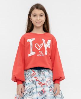 Купить 120BBGC16053500, Толстовка для девочек Button Blue, цв. красный, р-р 104, Толстовки для девочек