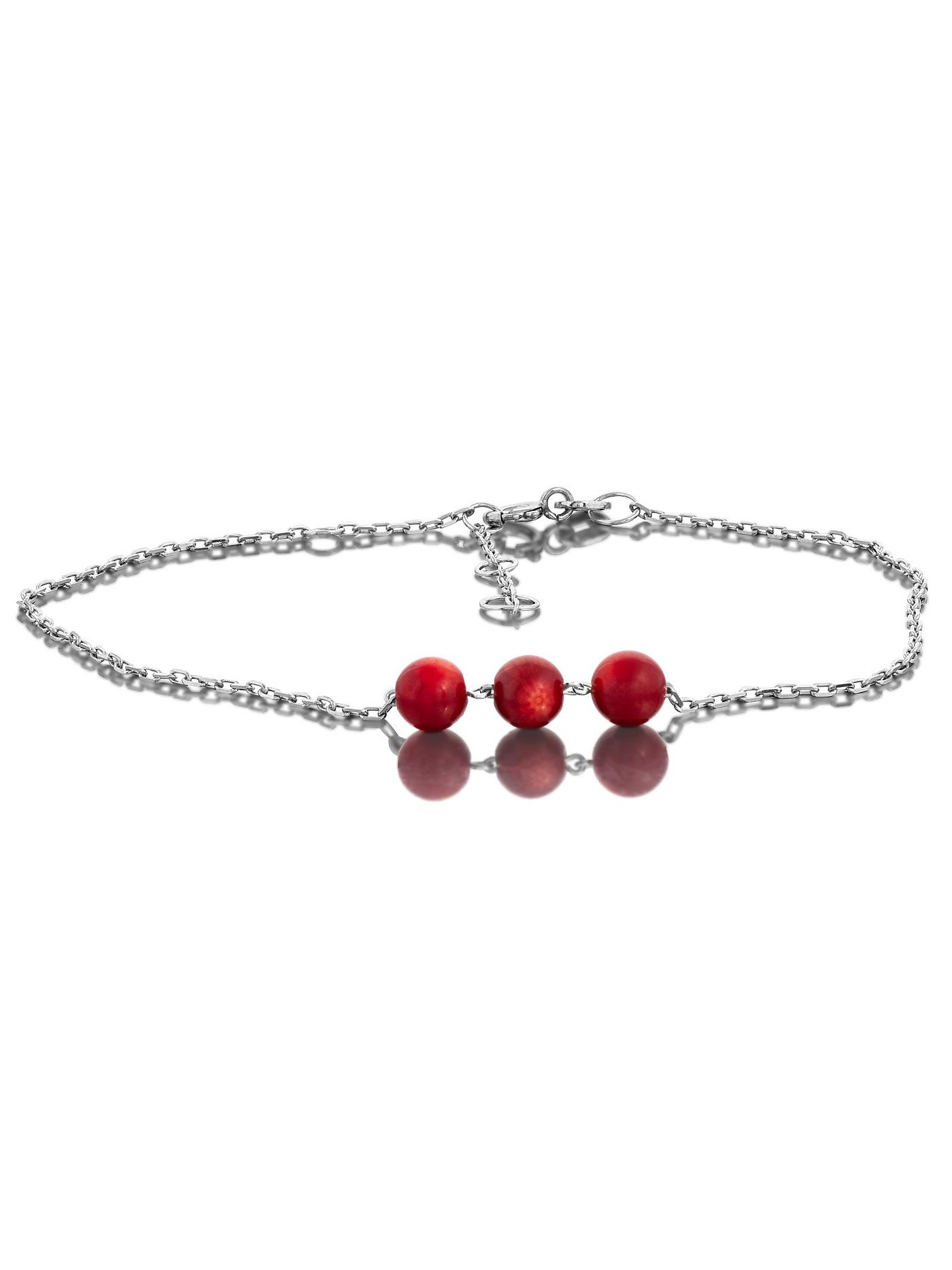 Браслет женский L'attrice на ногу с красным кораллом 53666086 р.24