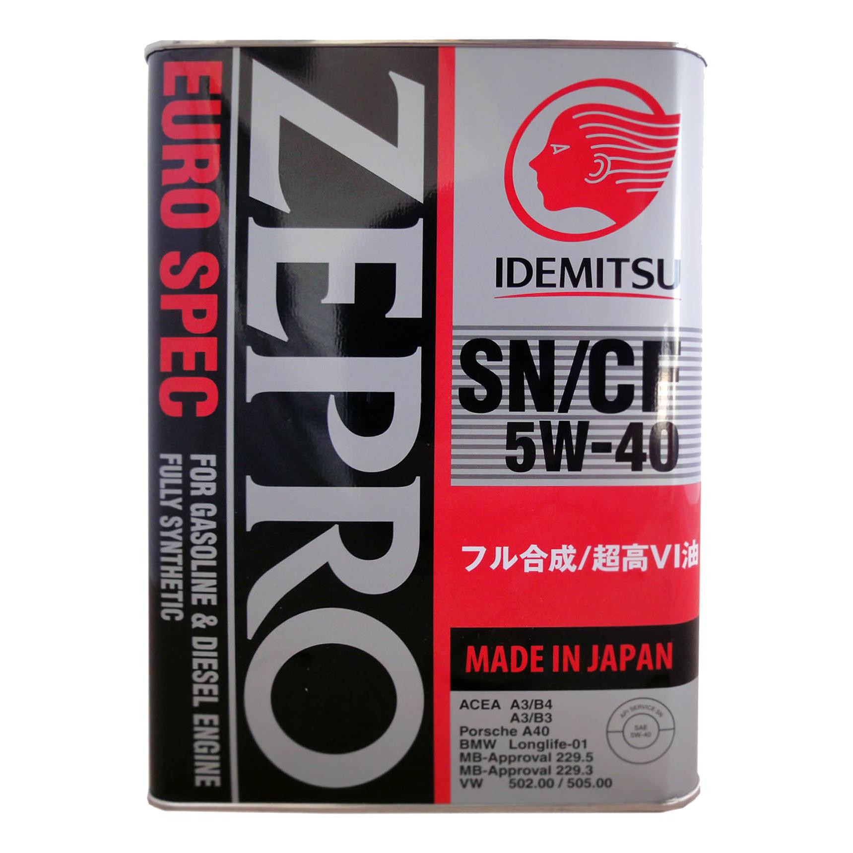 Моторное масло Idemitsu Zepro Euro Spec SN/CF 5W-40 4л