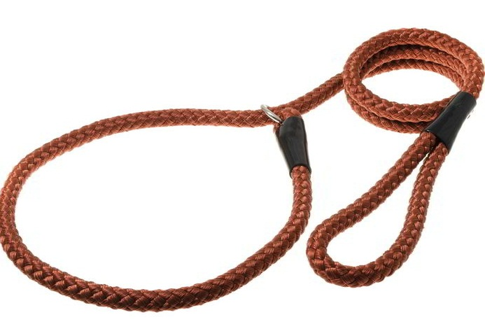Поводок удавка для собак V.I.Pet, нейлон, коричневый,