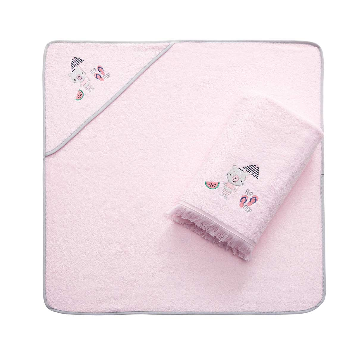 Полотенце и уголок банный Arya Summer Розовый махровый, 75х75/70х140