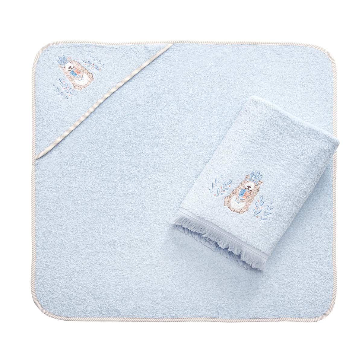 Полотенце и уголок банный Arya Bear Голубой махровый, 75х75/70х140