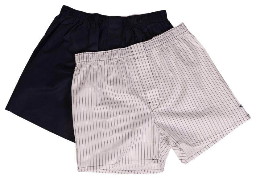 Мужские хлопковые трусы-шорты Hustler Lingerie темно-синие и белые