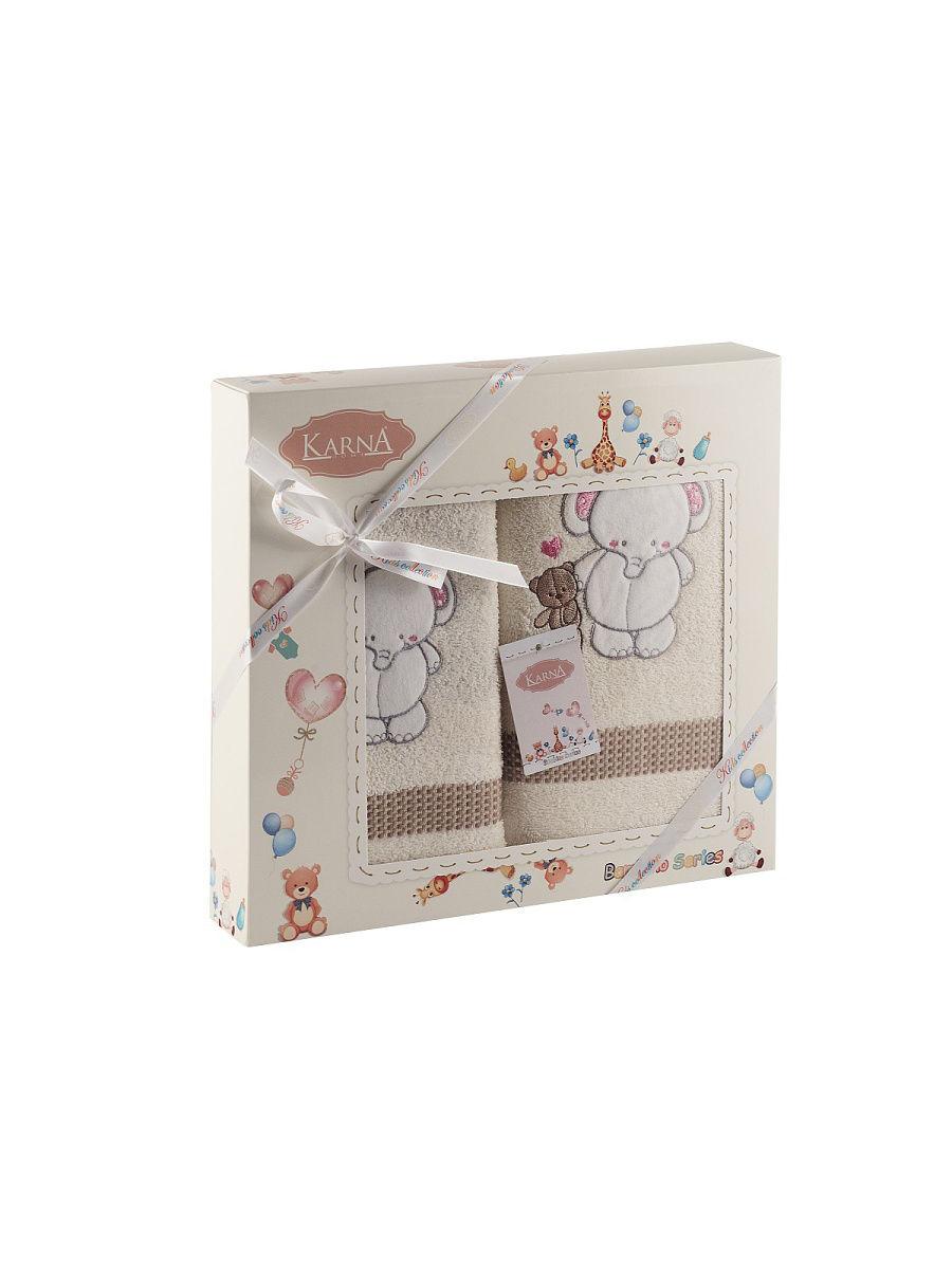 Комплект полотенец Karna Bambino Slon Mолочный, 50x70/70х120
