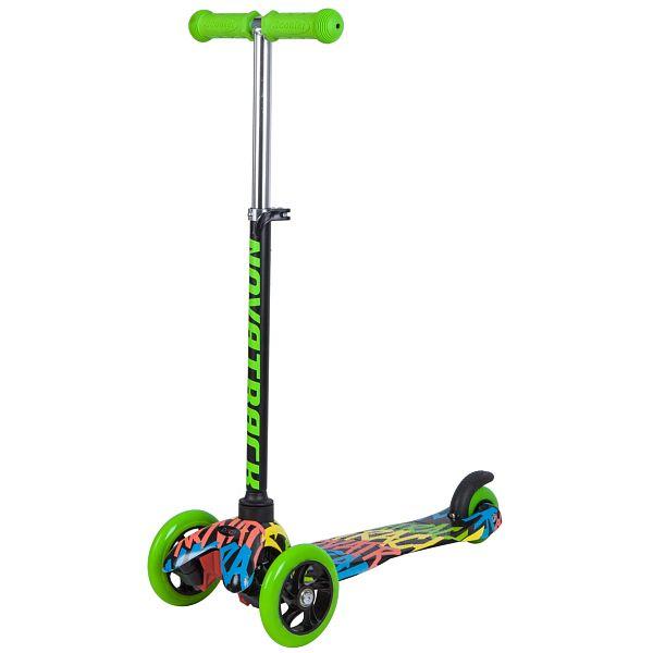 Купить Самокат-кикборд Novatrack Disco-kids черно-зеленый со светящимися колесами,