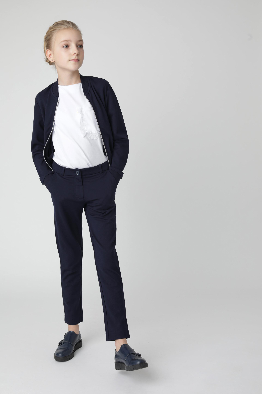 Купить Синие брюки из джерси Gulliver 220GSGC5603, размер 170, Брюки для девочек