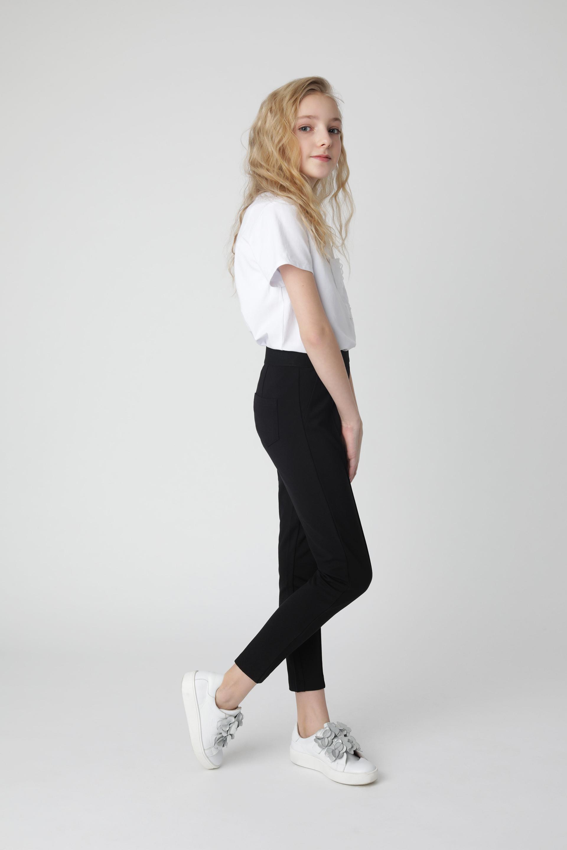 Купить Черные брюки из джерси Gulliver 220GSGC5601, размер 170, Брюки для девочек
